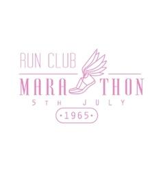 Marathon running pink label design vector