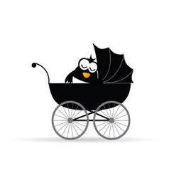 penguin in a baby stroller vector image vector image