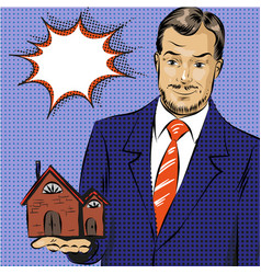 Pop art of real estate agent vector