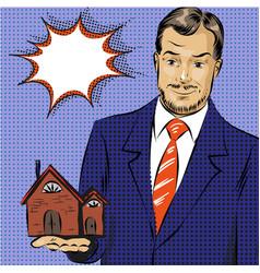 pop art of real estate agent vector image