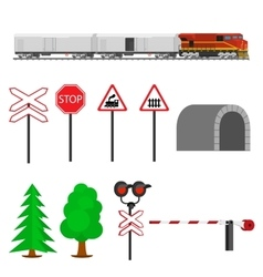 Railroad traffic way and train wagons with vector