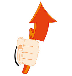 Red arrow in hand vector