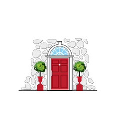 red door on stone wall house vector image