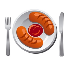 sausages with sauce vector image vector image