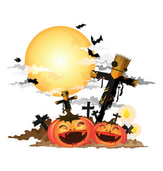scarecrow and halloween pumpkin vector image vector image