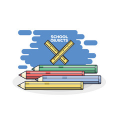 School supplies colored pencils vector