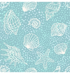 Seamless pattern with shells vector