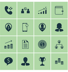 set of 16 management icons includes female vector image