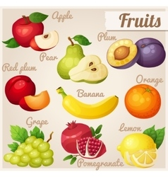 Set of cartoon food icons Fruits vector image vector image