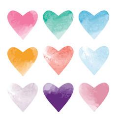 set of watercolor hearts vector image