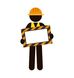 Silhouette worker holding site under construction vector