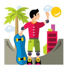 skateboarding flat style colorful cartoon vector image vector image