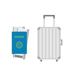 Suitcase icon travel baggage passport air boarding vector
