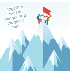 Synergy concept business mountain climbing in vector