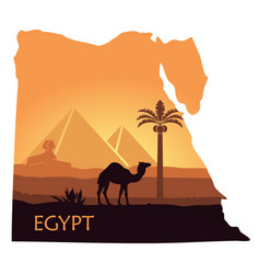 the landscape of egypt with a camel the pyramids vector image vector image