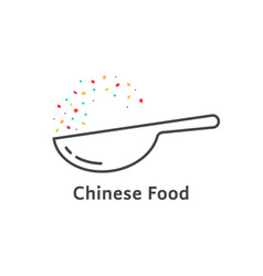 Thin line chinese food logo vector
