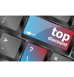 top discount concept sign on computer key vector image vector image