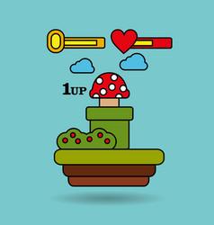 Video game terrain mushroom platform bar life vector