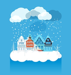 Vintage buildings with snowfall on Winter vector image