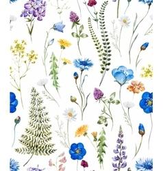 Watercolor wild flowers pattern vector