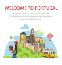 welcome to portugal informative poster with vector image vector image