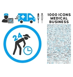 Around the clock work icon with 1000 medical vector