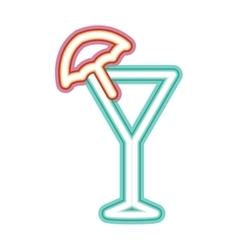Neon cocktail icon vector