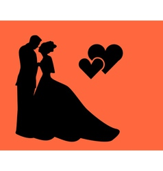 silhouette of lovers vector image