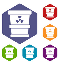 Trashcan containing radioactive waste icons set vector