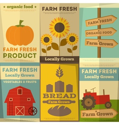 Farm food posters vector