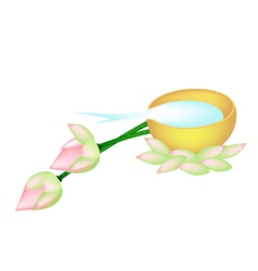 Water in Golden Bowl and Two Lotus vector image