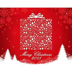 Merry christmas gift box shape vector