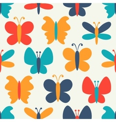 Retro seamless pattern of colorful butterfly vector image