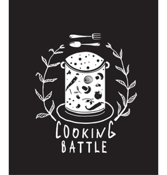 Cooking battle sign with laurel and label vector