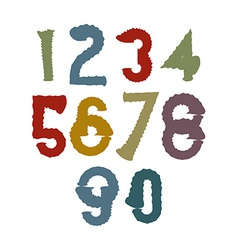 Multicolored handwritten numbers doodle brushed vector