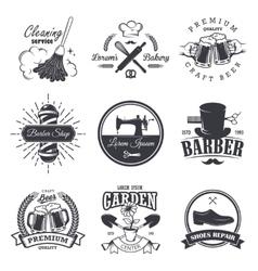 set of vintage workshop emblems vector image
