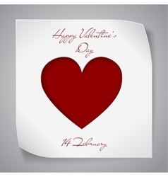 Valentines day paper background with red heart vector
