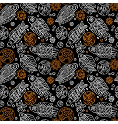 Fishes and shells seamless pattern vector