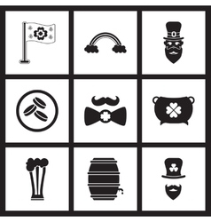 Concept flat icons in black and white St Patrick vector image