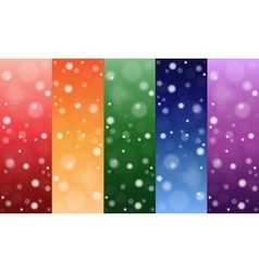 Multi-colored backgrounds circles snow set vector
