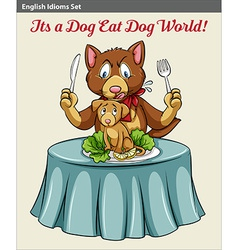 A cat eating a dog vector