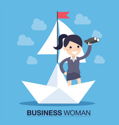 Businesswoman in a boat vector