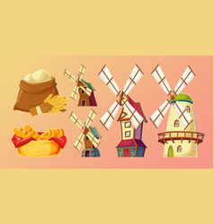 cartoon traditional old windmills vector image
