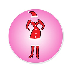 Christmas Girl dress in Santa Claus Icon vector image
