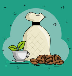 Coffe beans cartoon vector