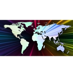 Colorful 3d background with world map abstract vector