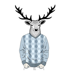Creative portrait of dressed deer vector