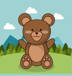 Cute bear teddy adorable landscape natural vector