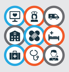 Drug icons set collection of bandage physician vector