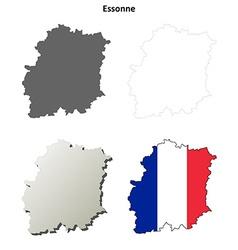 Essonne ile-de-france outline map set vector